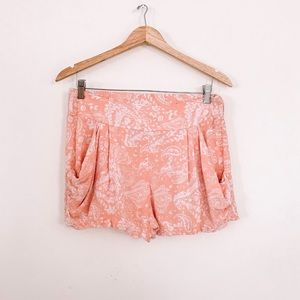 Free People Peach Tea Paisley Coral Pink Shorts S